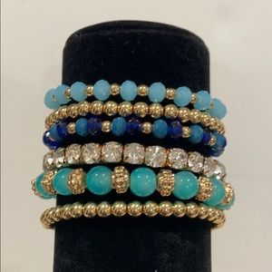 Beaded bracelets, golds, blues & crystals - 6 pcs
